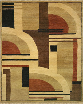 zoomable rug pattern image showing design of the art deco style clarice multi coloured rug from the hali collection