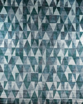 zoomable rug pattern image showing design of thblue green and white rug with a geometric pattern from the hali collection