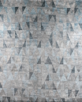 A birds eye view of the geo silver blue handspun viscose rug pattern from the hali himalayan collection
