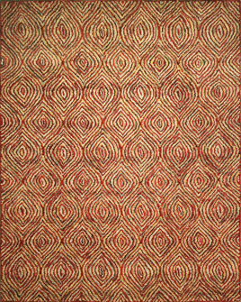 zoomable rug pattern image showing design of the tredny red rug from the hali prairie tufted collection