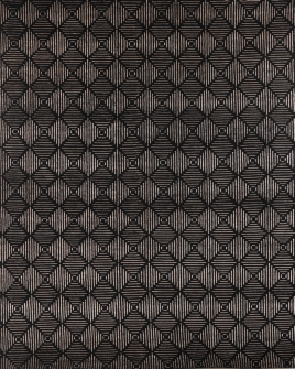 Pattern view image showcasing the design of the groove black 100% new zealand wool with silk highlights rug from the Hali Himalayan  collection