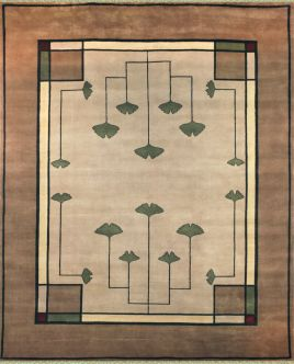 zoomable rug pattern image showing design of the knox beige coloured art nouveau rug from the hali new zealand wool collection