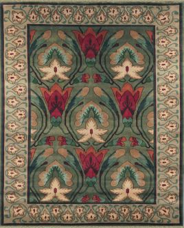 zoomable rug pattern image showing design of the monkshood green art nouveau rug from the hali collection