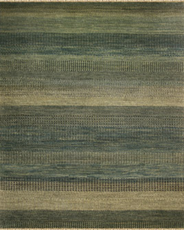 zoomable rug pattern image showing design of the steppes ink coloured rug with from the hali 100% new zealand wool collection