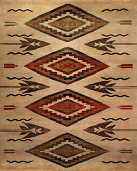 pattern tile showing the design of the jicarilla beige navajo tribal rug from the hali southwest collection