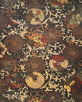a full pattern view of the garden black cololured rug from the hali handtufted collection