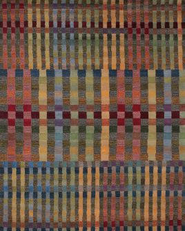 a full pattern view of the missoni multi coloured rug from the hali 100% new zealand wool  collection