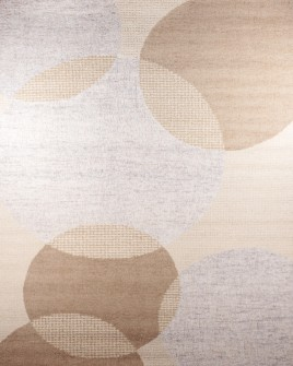 zoomable rug pattern image showing design of the overlapping circles beige coloured rug from the hali 100% pure wool collection