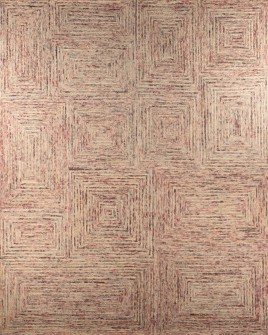 Pattern view image showcasing the design of the york rust prairie tufted rug from the Hali collection