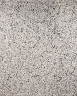 Pattern view image showcasing the design of the warta blue tufted rug from the Hali collection