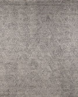 Pattern view image showcasing the design of the warta charcoal and white tufted rug from the Hali collection